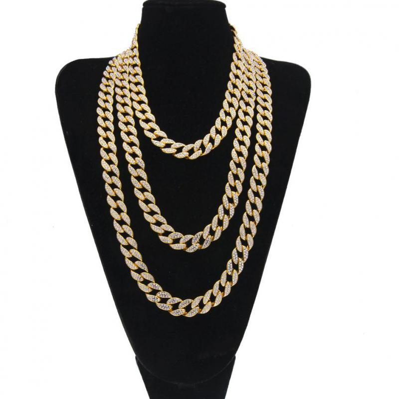 9f162f09d5d5f4 Iced Out Bling Rhinestone Golden Silver Finish Miami Cuban Link Chain  Necklace Men's Hip Hop Necklace