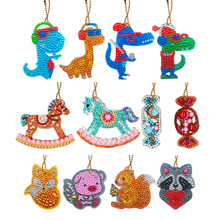 4pcs DIY Diamond Keychain Special Full Drill Shaped Painting Animals Keyring Women Bag Keychains Cross Decor