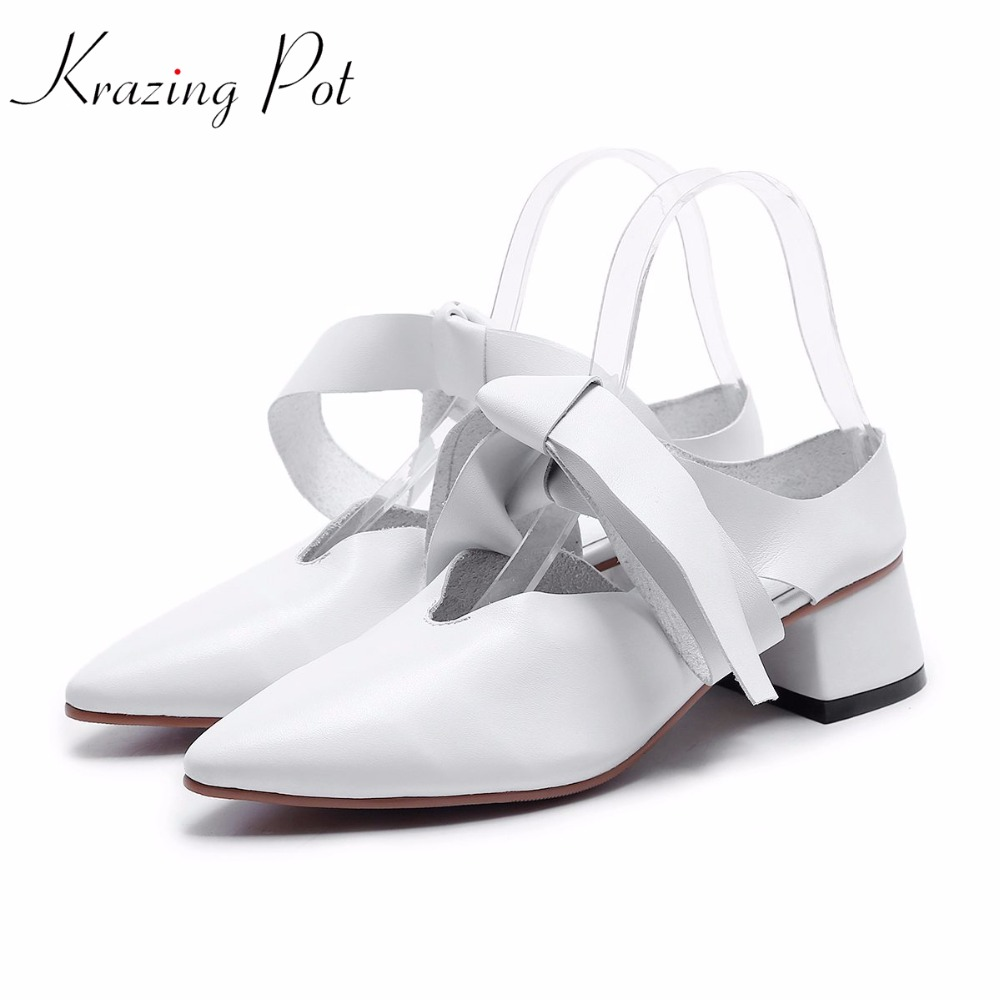 Krazing pot 2018 genuine leather solid brand summer shoes med heels women sandals British school ankle lace up causal shoes L85 brogue boots women summer genuine leather black ankle med heels lace up oxford shoes botas feminina chaussure femme talon