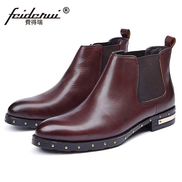 67550d41dfea6 US $92.4 |Fashion Studded Handmade Man Flat Platform Shoes Male Designer  Genuine Leather Footwear Men's Outdoor Chelsea Ankle Boots CE41-in Chelsea  ...