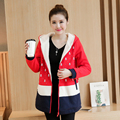 2016 autumn and winter sweater plus thick velvet jacket pregnant women pregnant women coat casual fashion wild