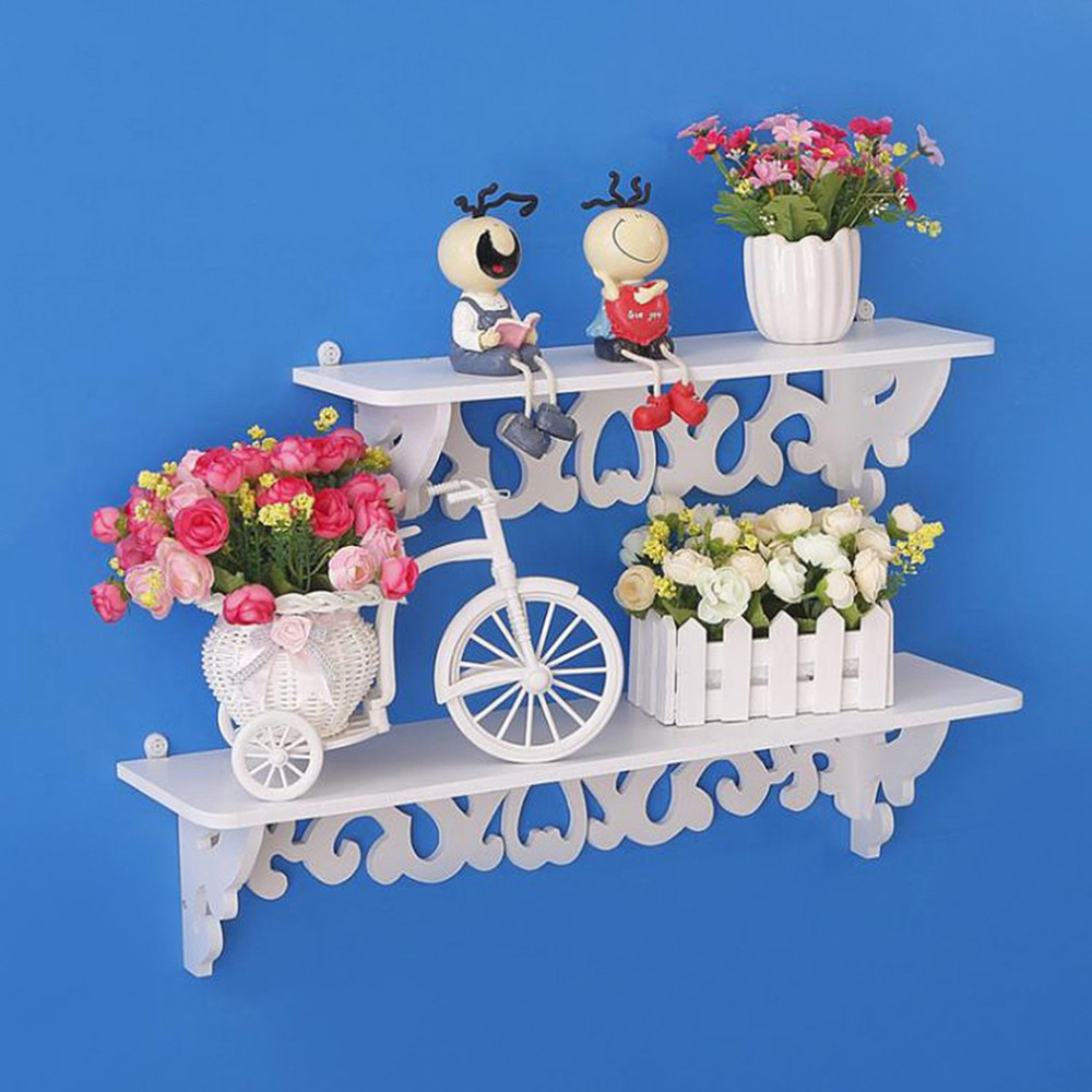 High Quality 3pcs/set White Wood Display Wall Shelf Storage Ledge Home Dector Simple Cleaning and Durability