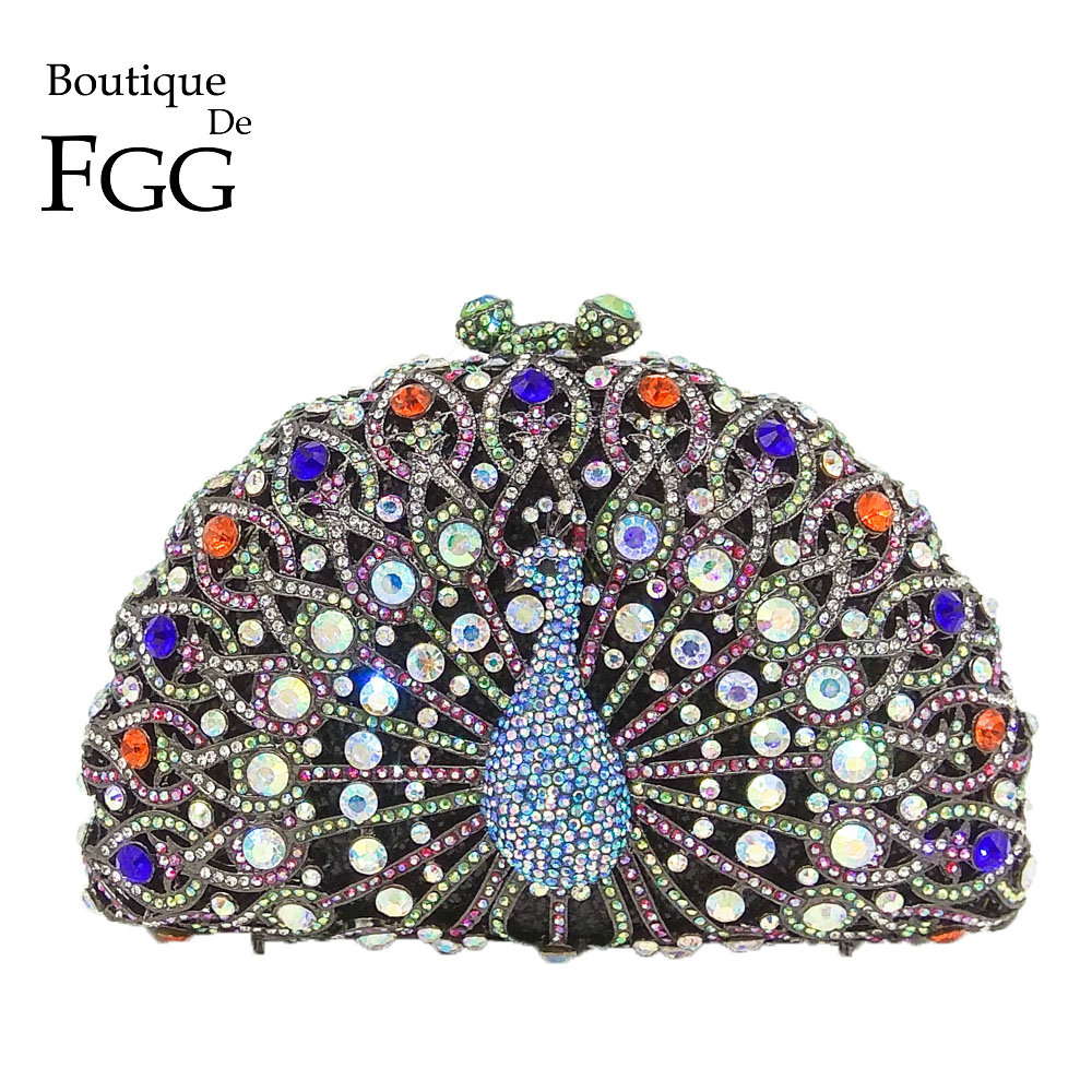 Boutique De FGG Dazzling Multi Crystal Women Peacock Evening Bag Party Minaudiere Handbag Wedding Clutches Bridal Diamond Purse