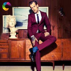 Мужской костюм бордового цвета, Свадебный костюм, смокинги для жениха, мужской костюм со штанами, мужской пиджак, 2 предмета, Terno Masculino