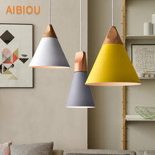 AIBIOU Nordic Pendant Lights For Dining Wooden Lamp with Mate Lampshade E27 Bar Light Kitchen Drop Lighting Fixtures