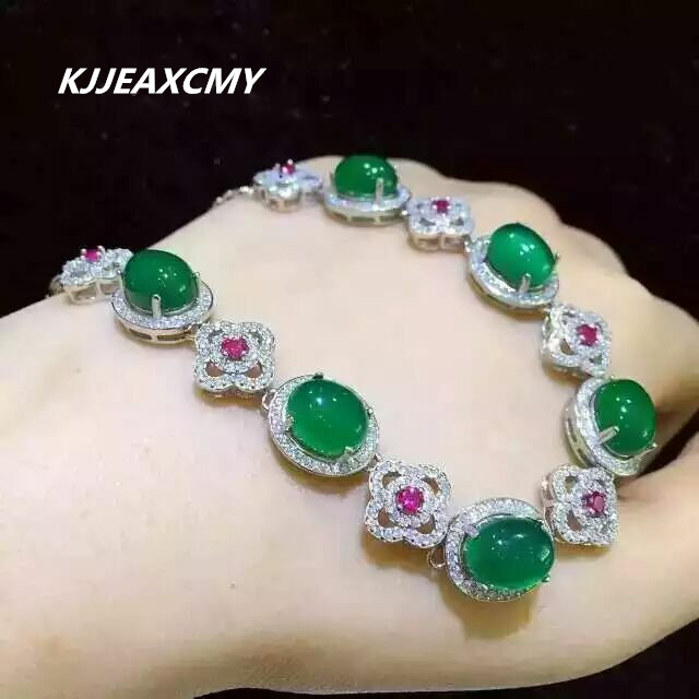 KJJEAXCMY Fine jewelry 925 Sterling Silver with natural green chalcedony female Bracelet Silver Inlaid jewelry kjjeaxcmy fine jewelry sterling silver 925 sterling silver natural jasper ladies bracelet inlaid jewelry natural jewelry