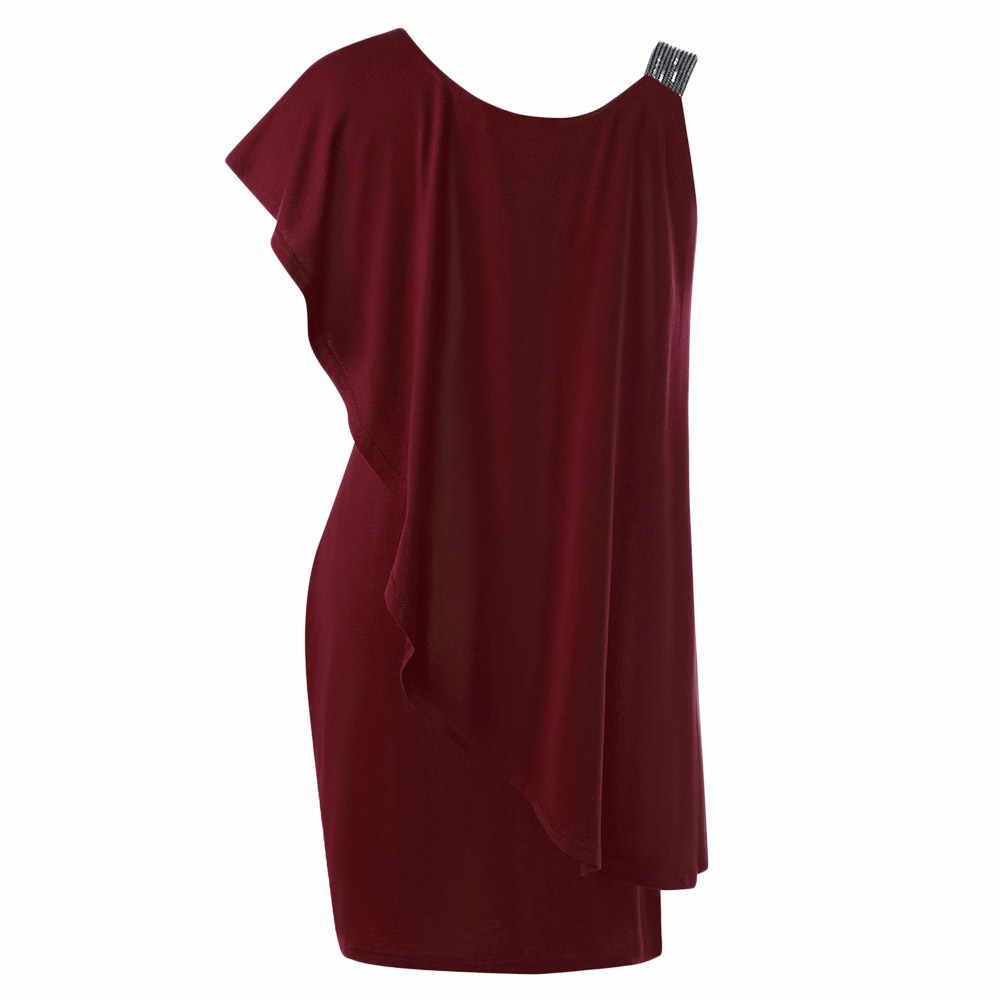 Wipalo Сексуальное летнее коктейльное платье большого размера на одно плечо с воланами