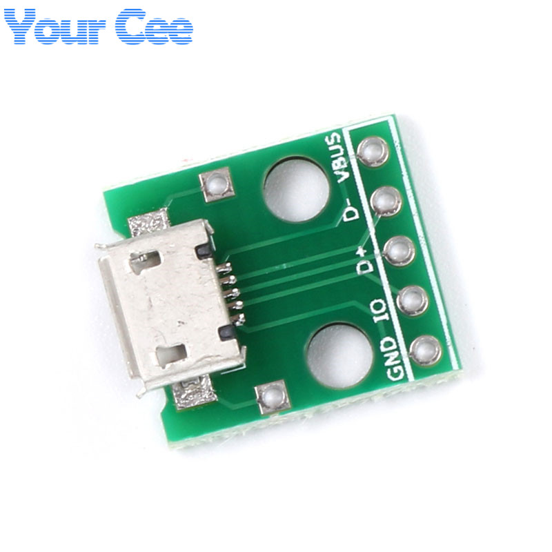 5 pcs MICRO USB to DIP Adapter 5pin female connector B type pcb converter pinboard 2.54