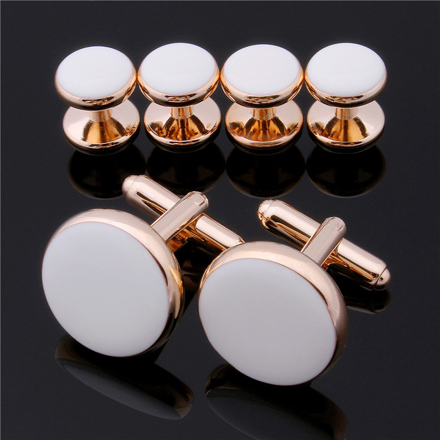 New Arrival Rose Gold Plated With White Polished Enamel Pretty Unique Cuff links & Stud Set