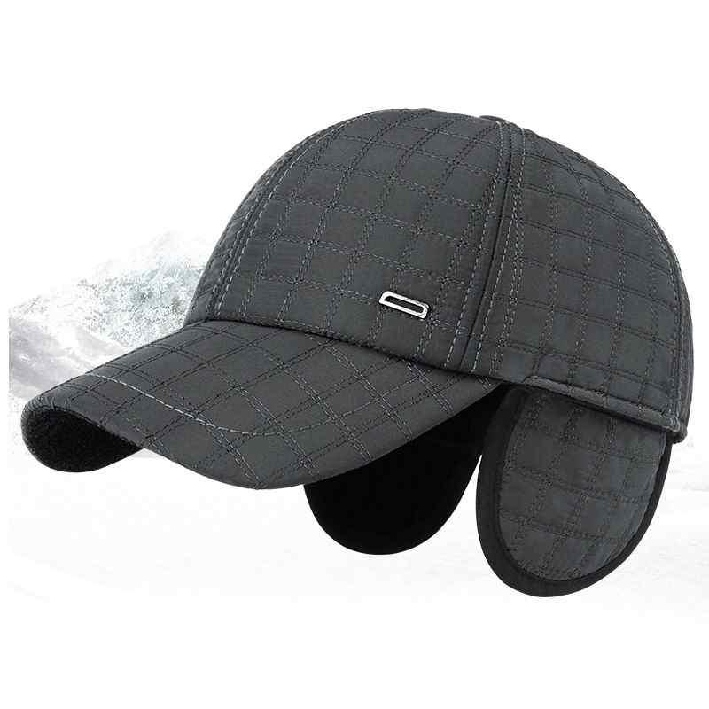 ce0a8db4fee Kagenmo Male Winter Hat Ear Protection Soild Color Thick Cotton Warm Winter  Baseball Cap Bone Brim