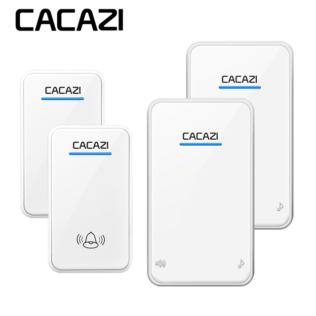 CACAZI DC Wireless Doorbell Battery Operated 2 Transmitters+2 Receivers  300M Remote Door Bell