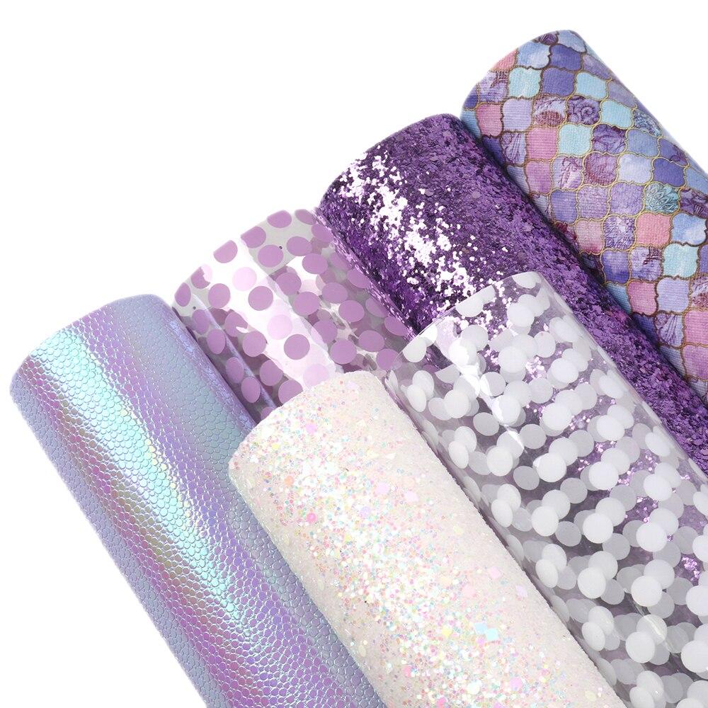 David accesorios 6 unids/set 20*34cm conjunto de cuero unicornio Plaid Stripe Dot Faux cuero sintético tela DIY Bow bolsa de artesanía 1Yc7256