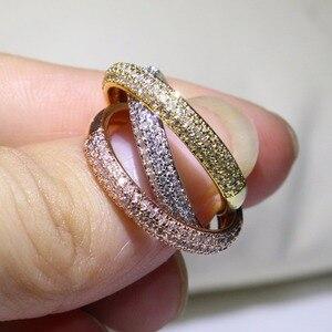 Image 2 - משולש עיגולים זהב/רוז זהב/כסף טבעת שלושה צבעים יוקרה תכשיטי 925 כסף פייב CZ טבעת נשים חתונה אצבע טבעות מתנה