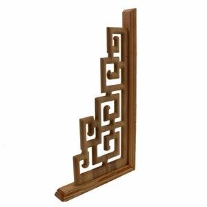 Image 5 - Chinesischen Stil Zu Hause Hochzeit Zubehör Möbel Appliques Holz Carving Ecke Holz Dekor Rahmen Wand Tür Holzschnitzerei Aufkleber