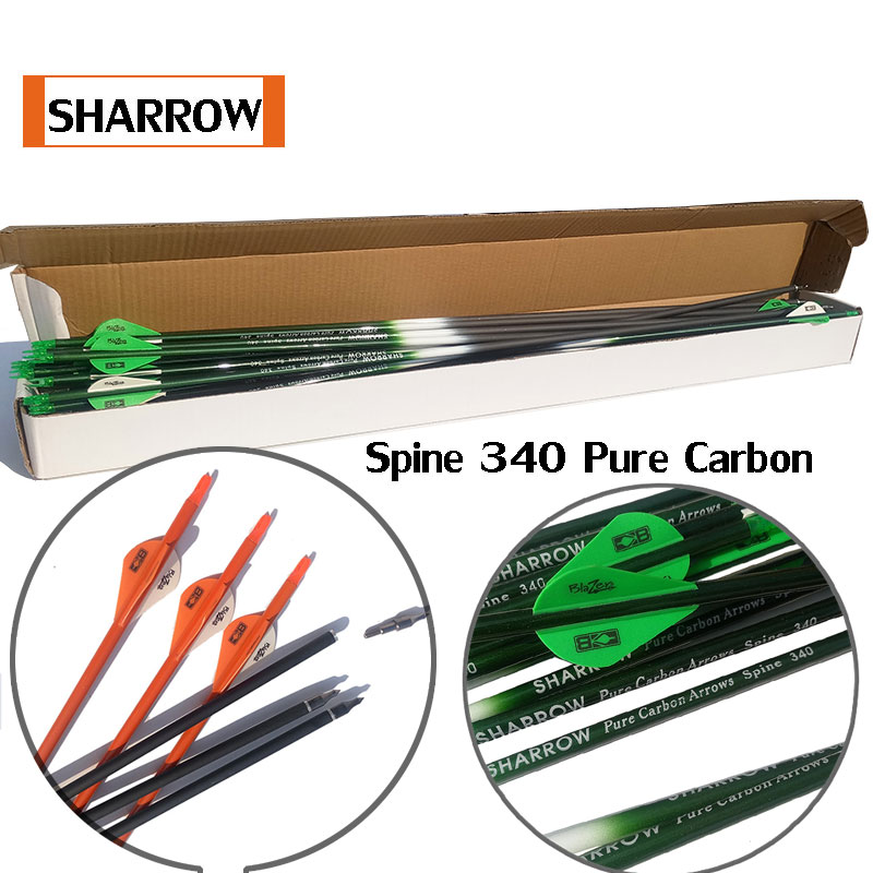 30 inch Archery Carbon Arrows Spine 300//400 with Replaceable Arrow Heads for bow