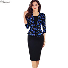 2017 Autumn Womens Elegant Vintage Work Office Clothing Retro Faux Twinset Tartan Floral Orchids Sheath Bodycon