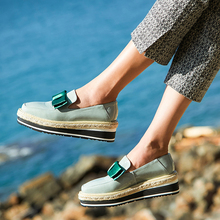 Bimolter Dark Green Wedges For Women Girls 5cm Thick Heels Cow Leather Sweet Platform Shoes Handmade Slip On New NB060