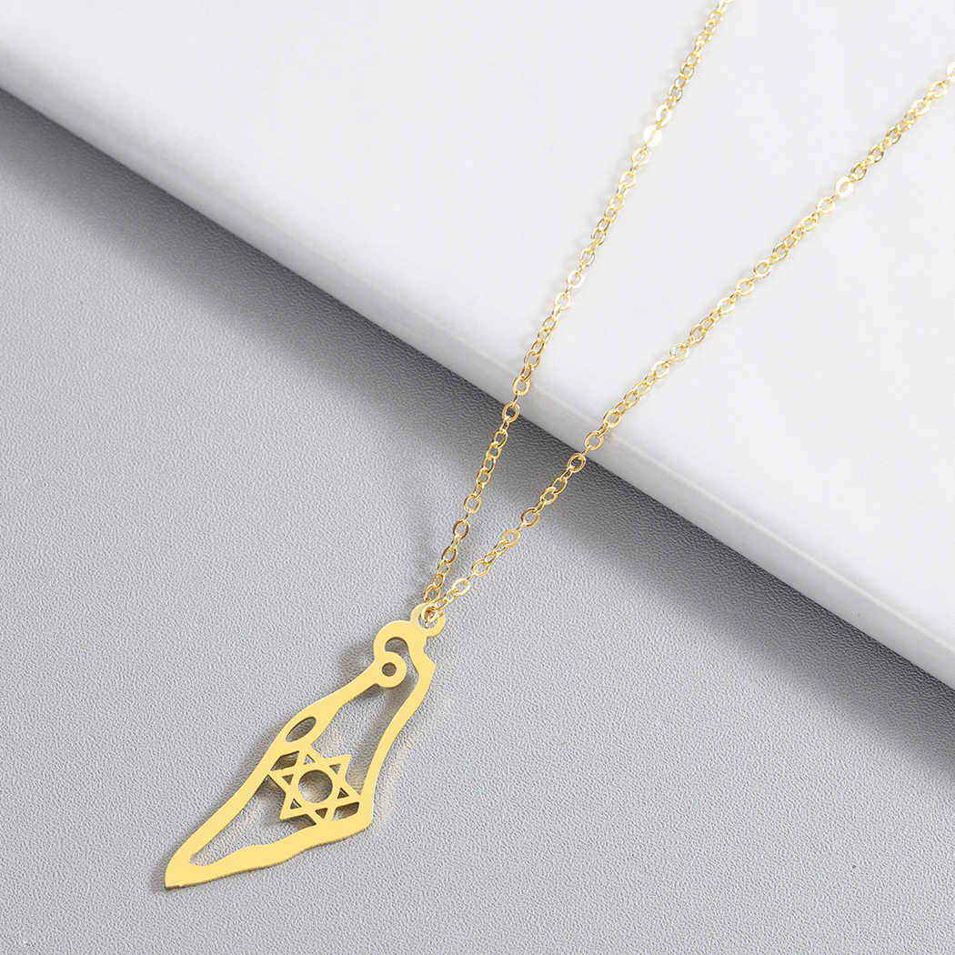Kinitial New Asian Country Map Israel Pendant Necklace Jewish Jerusalem Hebrew Passover Holy land David Star Necklaces Souvenir