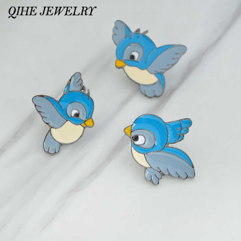 QIHE JEWELRY Brooches & pins Cartoon hard enamel blue birds pins Denim jacket badge collar hat bag decorative jewelry