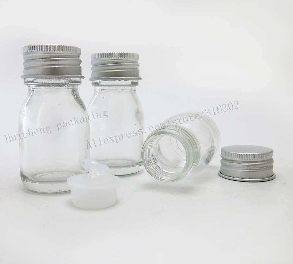 200 x 30ml clear glass bottles with aluminum cap and insert. 1oz Transparent Glass Container glass bottle