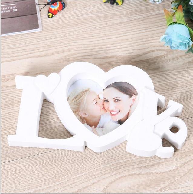 White Heart Shape Pure Love Photo Frame 4x4\