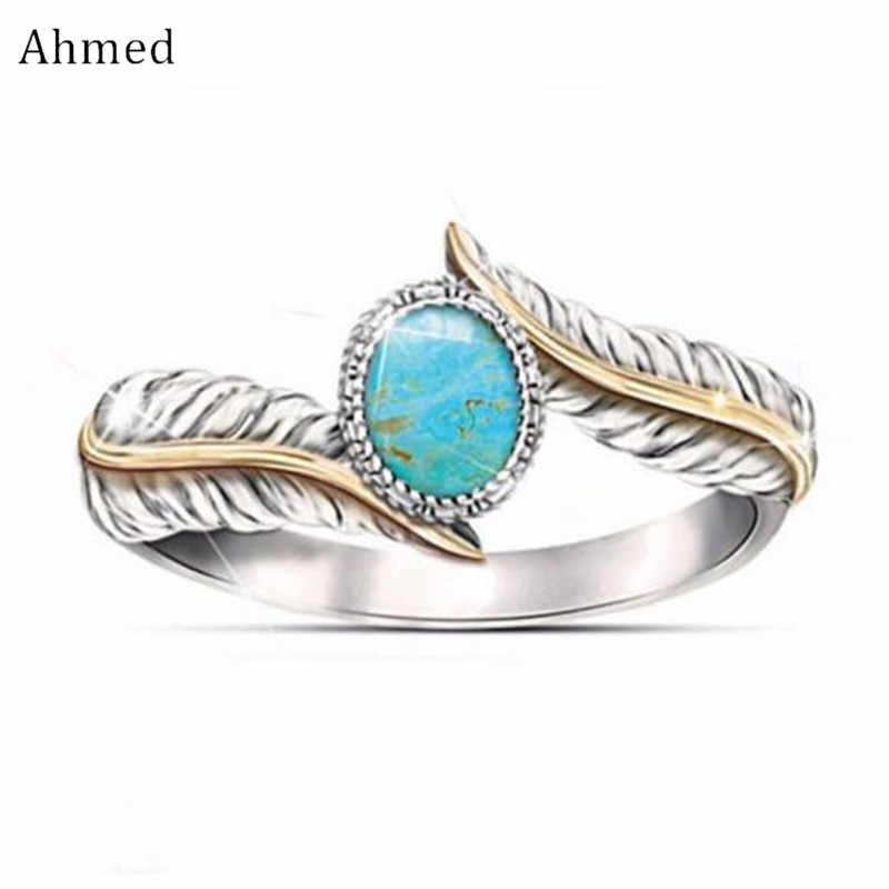 Ahmed Mode Synthetische Stein Feder Ringe Frauen Vintage Pfau Retro Einzigartige Engel Finger Ornament Party Charms Schmuck