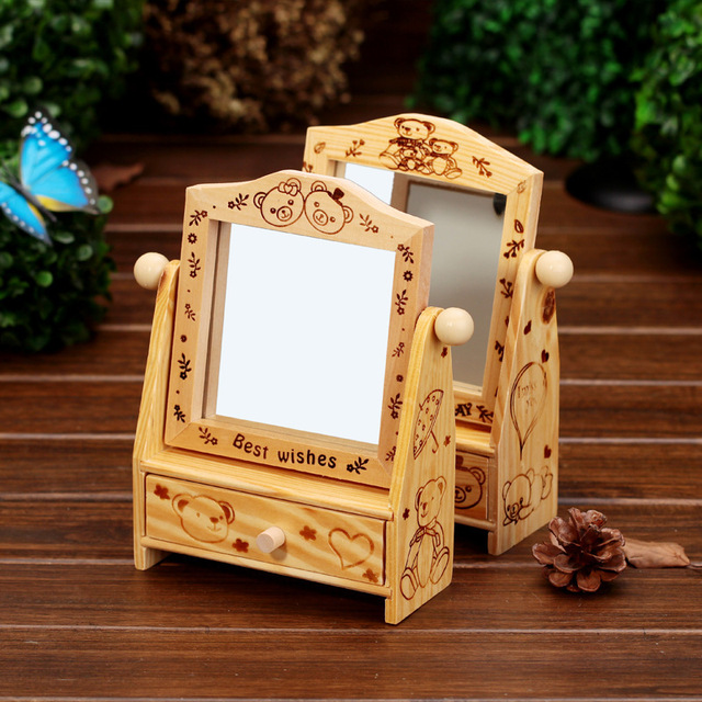 2pcs Lot Wedding Gifts Wooden Desk Cosmetic Makeup Organizer Dressing Table Diy Wood Jewelry Storage