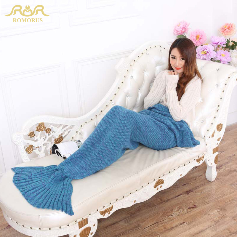RMR271398 Funny Knitted Mermaid Tail Blanket Blue Purple Handmade Crochet 195*90cm Fish Style Adult/Kids Wrap Soft Bed Blankets