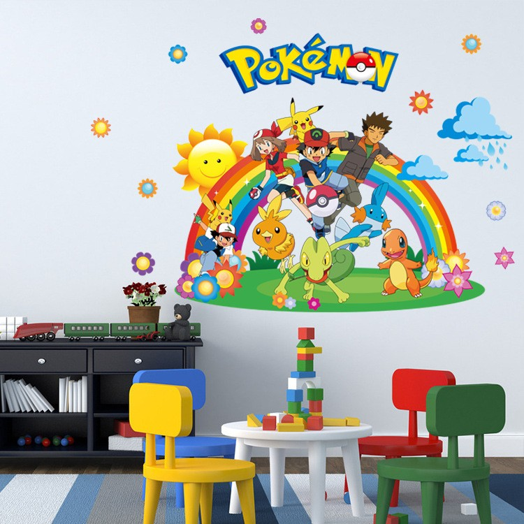 Removable Kids Bedroom Decor 3d Pokemon Wall Stickers Children Room Wall Decals Home Decor Wallpaper