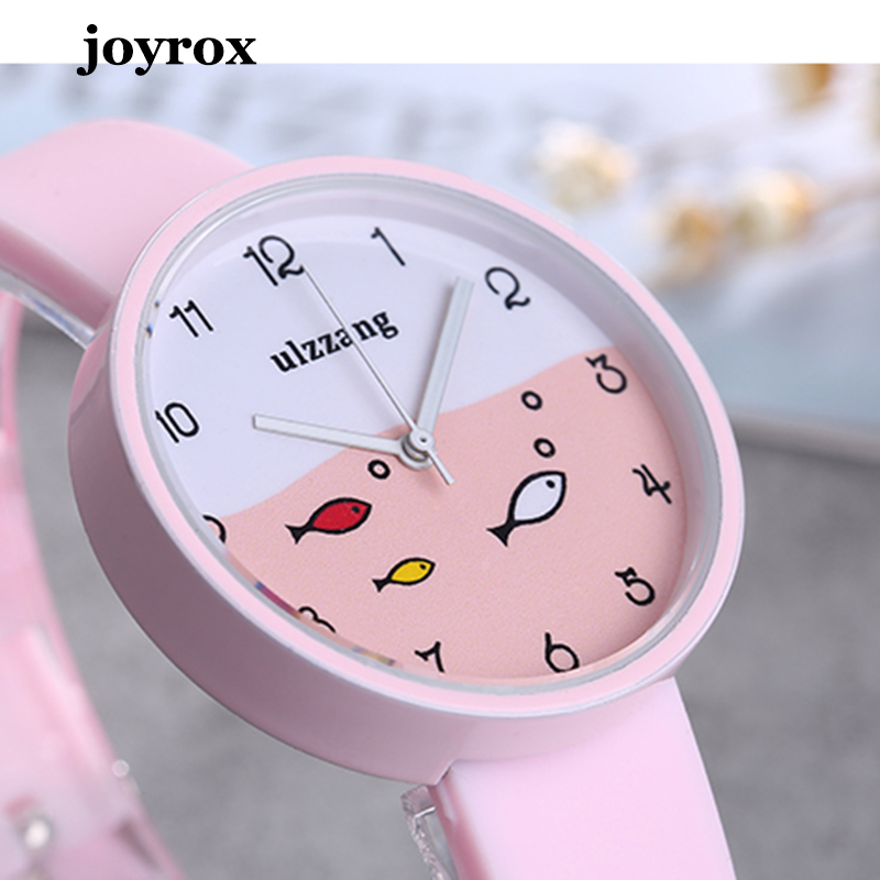 Joyrox Children Watch For Girls Color Silicone Strap Fashion Quartz Wristwatch Fish Dial Cartoon Kids Clock Relogio Feminino