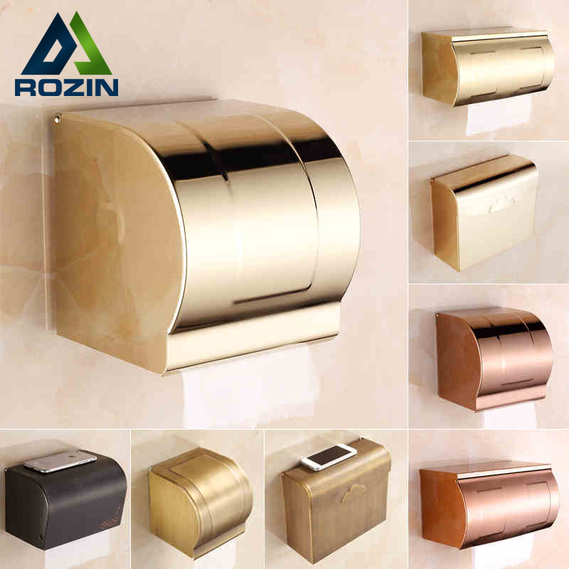 Luxury Wall Mounted Waterproof Toilet Paper Box Brass Antique & golden Bathroom Paper Tissue Holder Free Shipping wholesale and retail wall mounted bathroom toilet paper holder antique black brass roll tissue box free shipping 7816