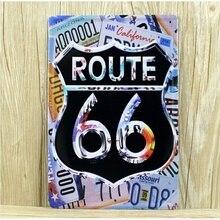 Ruta 66 para matrícula 20*30CM carteles de hojalata Vintage cartel de publicidad garaje decoración de pared Bar Club placa para pub decoración del hogar