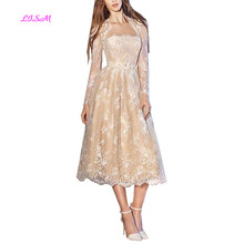 LISM Strapless Lace Tea Length Two Pieces Prom Dress Zipper Back Party Dress with Coat A Line Long Empire Bridesmaid Dresses