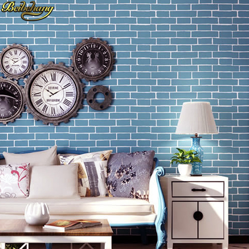 beibehang Blue Brick Wallpaper Roll papel de parede 3D Old Stone Wall Paper For Restaurant TV background wall papers home decor beibehang modern 3d wall paper for walls 3 d stone brick design background wall wallpaper roll papel de parede 3d papel parede