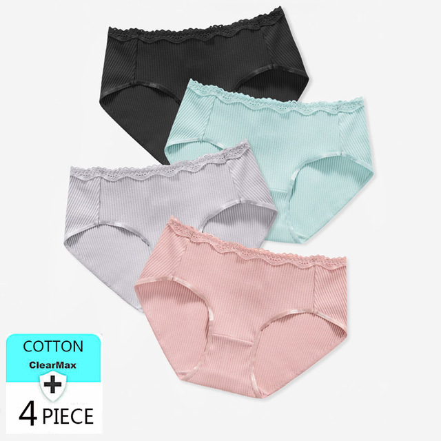 LANGSHA 4Pcs/lot Cotton Panties Women Underwear Briefs Soft Breathable for Girls Panty Lady Solid Mid-Waist Seamless Lingerie