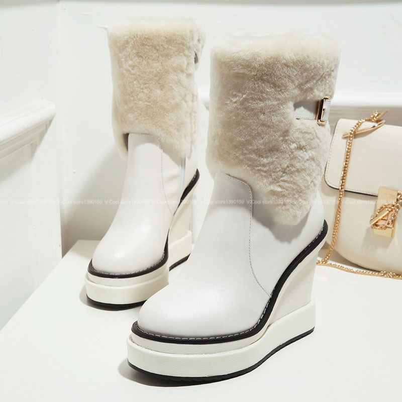 2015 Women Good Quality Snow Boots Female Genuine Leather Winter