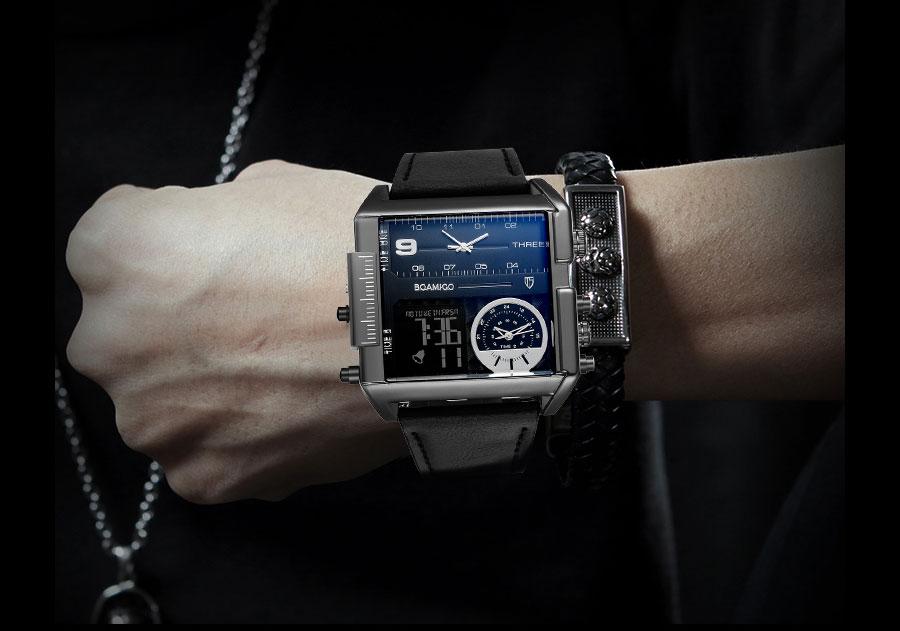 HTB10lCDlVkoBKNjSZFEq6zrEVXaY BOAMIGO brand men sports watches 3 time zone big man fashion military LED watch leather quartz wristwatches relogio masculino