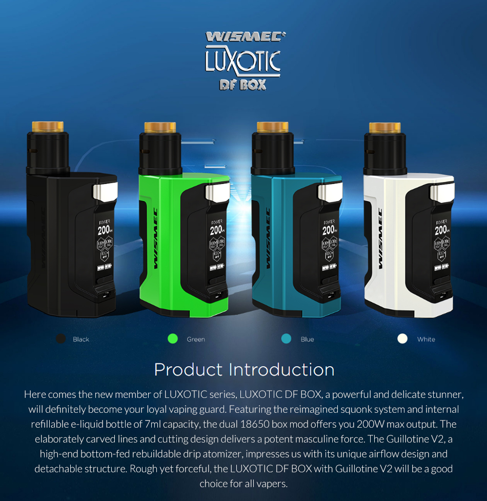 , Original Wismec LUXOTIC DF BOX Kit with Guillotine V2 RDA Atomizer Tank 7ml bottle 200W Squonk system Electronic cigarette vape