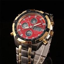 Fashion Digital Watches Men Led Full Steel Gold Male Clock Men Military Wristwatch Quartz Sports