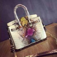 free shipping Platinum package mini chain of packet first layer of cowhide snake snakeskin handbag genuine leather handbag