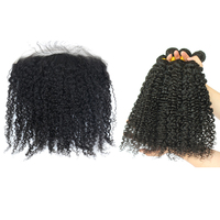 3B 3C Kinky Curly Silk Base Human Hair Bundles With Frontal Brazilian Natural Hair Weave Bundles With Frontal Remy Hair Prosa