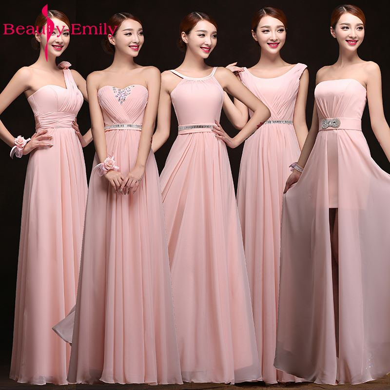 Beauty Emily Hot Selling Pink Bridesmaid Dresses 2019 Chiffon Vestidos De Festa Longo Gowns Party Wedding Elegant Floor Length