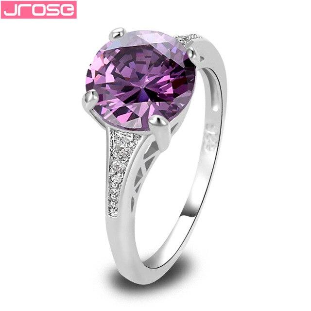 JROSE Awesome Round Cut Purple White Cubic Zirconia Fashion Women Silver Ring Si