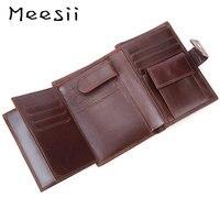 Meesii Men Vintage Genuine Leather Short Wallet Male Multifunctional Trifold Wallet Coin Pocket&Photo Card Holder Smart Wallet