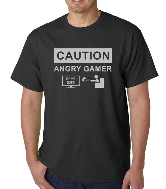 CAUTION ANGRY GAMERRetro Funny Mens T Shirt Gaming Ideal Birthday