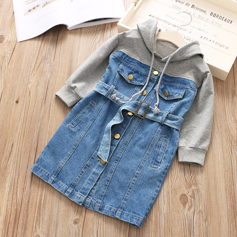 6f637822d16 New 2018 Spring Baby Girls Cotton Dress Patchwork Cowboy Jeans Hooded  Children Long Sleeve Fashion with Belt Dress Hot Sale