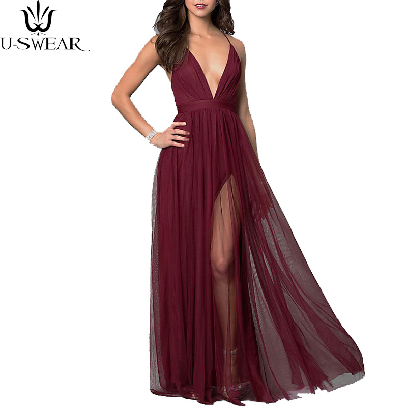 Summer New Women Dress Wine Red Stitching Perspective Gauze Loose Sequin Deep V Strap Women Mesh Dress Vestidos De Fiesta