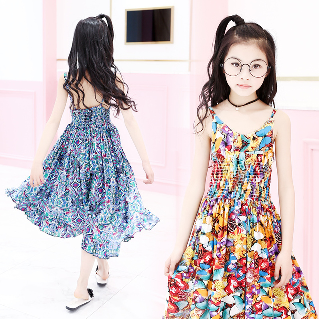 42d95ff846 Kids Bohemian Dresses For Girls Jumpsuits Summer Girls Vests Dresses Floral  Print Vacation Beach Dress 4 6 8 10 12Years Vestidos