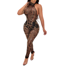 Nightclub Sexy Halter Sequined Jumpsuits Women Backless Sleeveless Mesh Jumpsuit Romper See Through Mesh Bodycon Jumpsuit see through mesh lace backless teddy