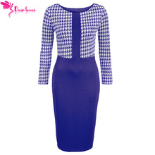 Dear Lover Women Office Dress Autumn Cobalt Blue Houndstooth Patchwork Long Sleeve Pencil Midi Slim Dress Work Vestidos LC220538